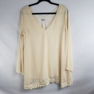 TOBI Cream Chiffon with Eyelet Lace 3/4 Sleeve Top